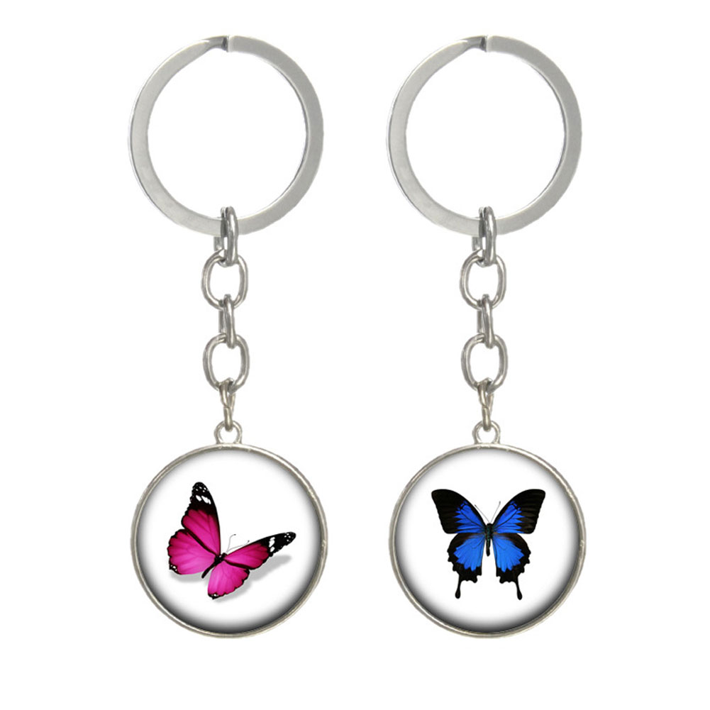 Butterfly keychain Glass animal pendant key holder Fashion jewelry for women alloy key ring 2017 fashion