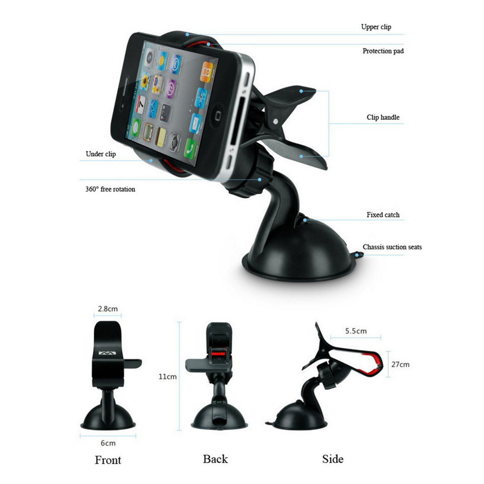 Universal Mini 360 degree cell Phone Holder Car Phone holder for Car Gps plastic phone stand car for iPhone Samsung Xiaomi HTC