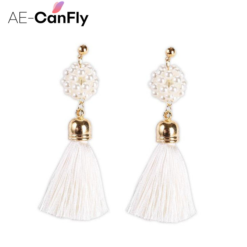 AE-CANFLY Lady Gorgeous Pearl Long Tassel Earrings Fringe Drop Dangle Earrings for Women 1A5011