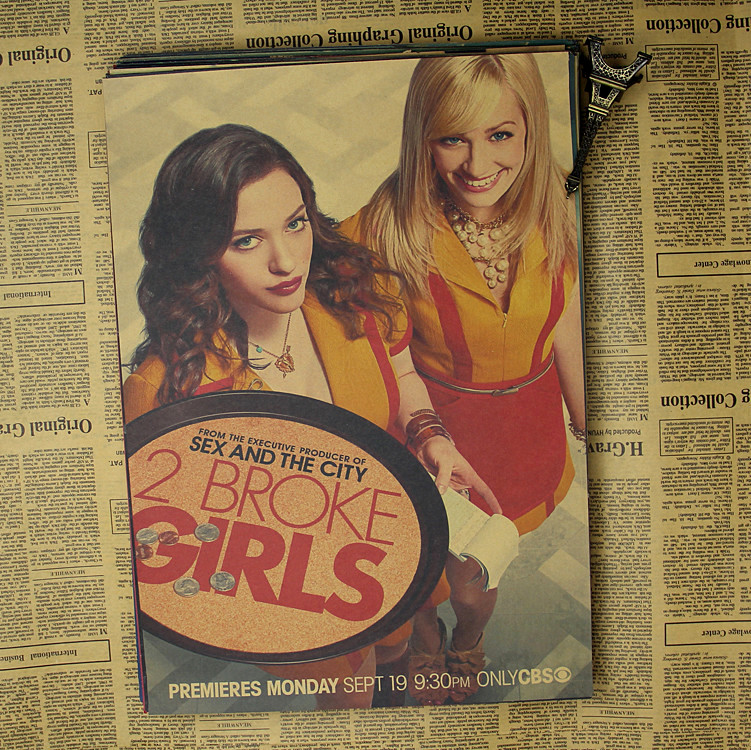 2 Broke Girls duvar sticker Vintage Retro Mat Kraft Kağıt Antik Poster Duvar Sticker Ev Decora