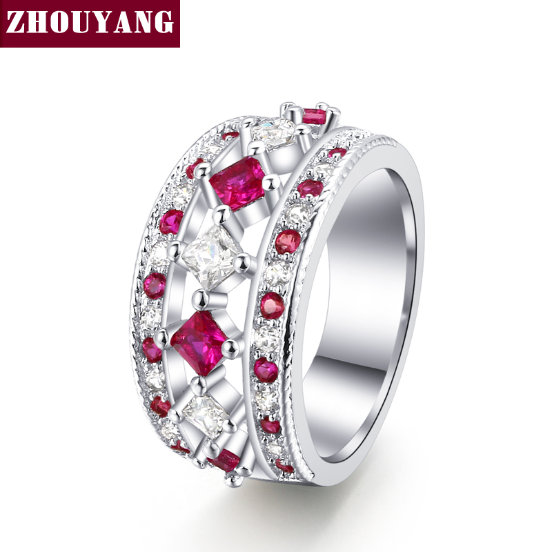 New Luxury Fashion Silver Color Pink Cubic Zirconia Cocktail Party Rings Fashion Jewelry For Wemon Gift Wholesale ZYR649