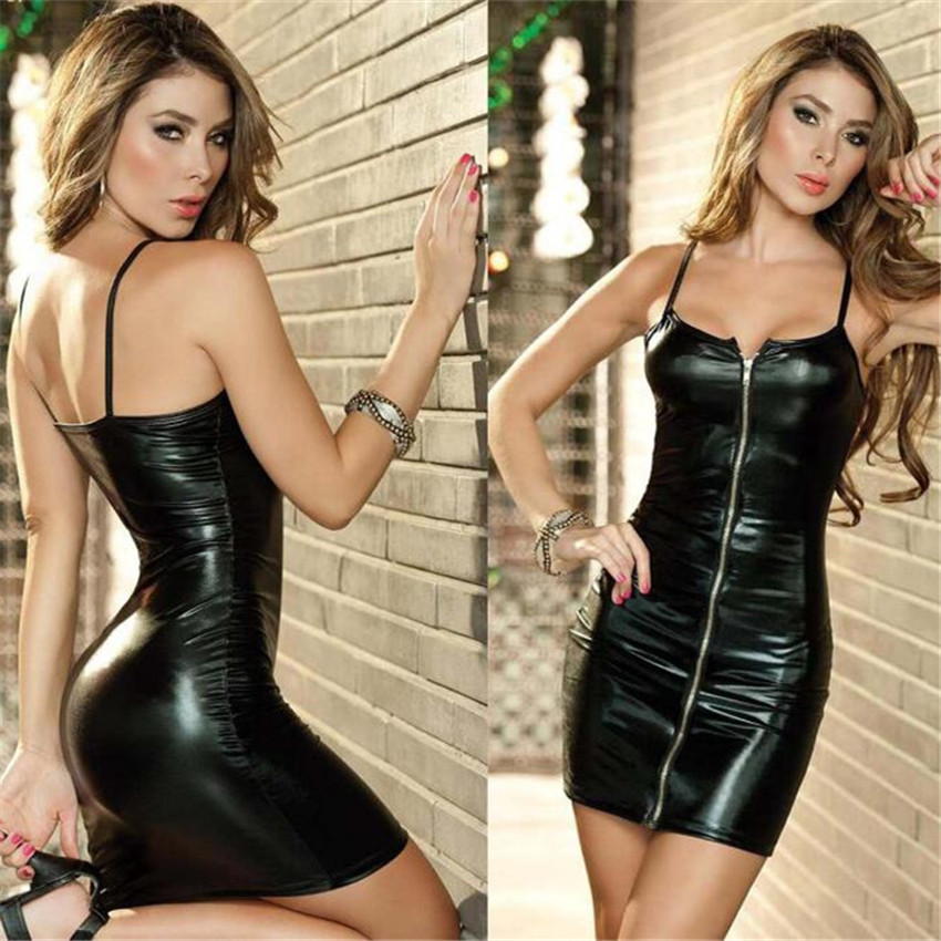huarache air sexy fashion Ma&39;am PU Solid color Camisole strapless latex catsuit autumn dress vestidos latex bodysuit