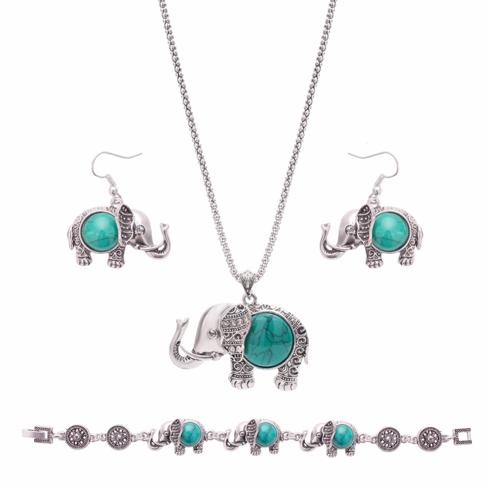 Vintage Bohemia Choker Collar Elephant Jewelry Set Women Resin Statement Necklace Earrings Jewelry Sets Gift